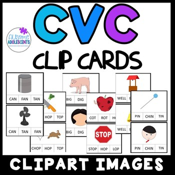 CVC Short Vowel Clip Cards 2nd Edition- SPED/AUTISM/ELEMENTARY