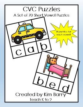 Short Vowel CVC Puzzles - 70 Puzzles