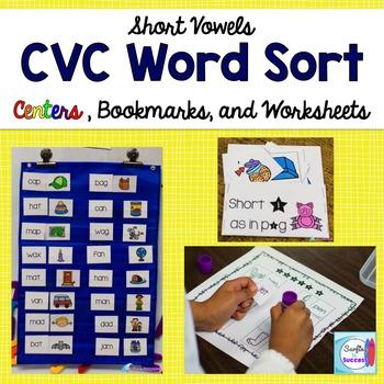 Short Vowel CVC Word Sort, Fluency Bookmarks, Worksheets,