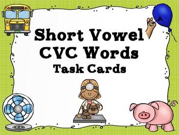 Short Vowel CVC Word Task Cards