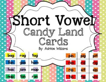 Short Vowel Candy Land Cards