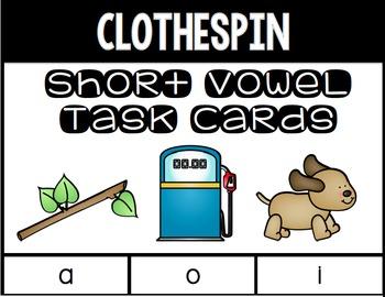 Short Vowel Clothespin Task Cards