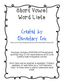 Short Vowel Differentiated Word Lists for Reading Street Unit 1