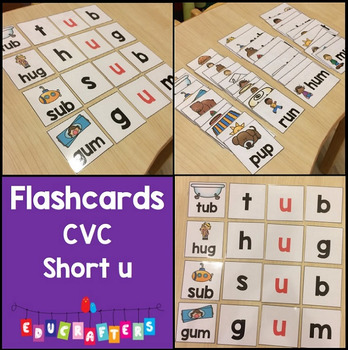 Short Vowel Flashcards - Short U CVC Word Families - Phoni