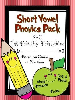 Short Vowel Phonics Pack- K-2  Prinable Center Cut/Paste A