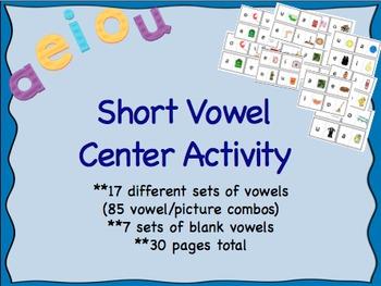 Short Vowel Literacy Center Puzzle Game Activity