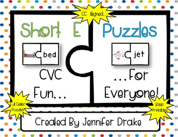 Short Vowel Puzzles ~Short E Version~  17 Puzzles PLUS Pri