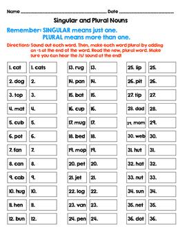 Short Vowel Singular Plural Activities