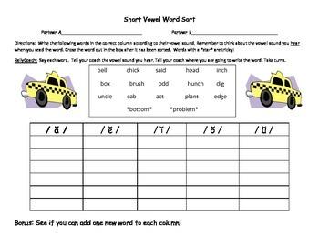 Short Vowel Sound Sort