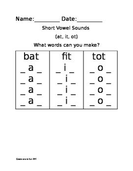 Short Vowel Sounds: Make a word worksheet (at, it, ot ending)