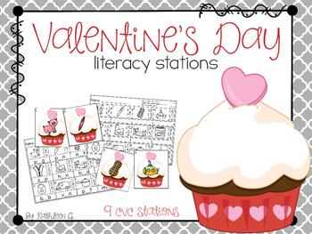 Valentine's Day Literacy Stations - CVC words
