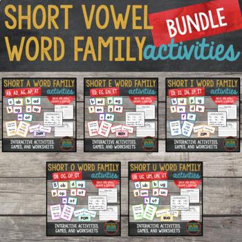 Short Vowel Word Families Word Builder Cards BUNDLE