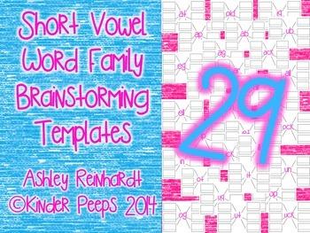 Short Vowel Word Family Brainstorming Templates Bundle