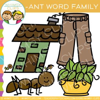 Short Vowel Word Family Clip Art  -ANT Words