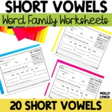 Short Vowel Word Family Printables
