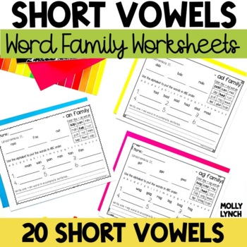 Short Vowel Word Family Printables