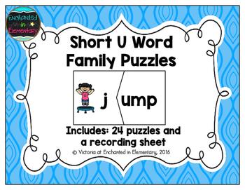 Short Vowel Word Family Puzzles: U