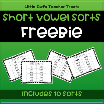 Short Vowel Word Family Sorts- Freebie!