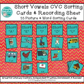 Short Vowels CVC Sorting Cards & Recording Sheet