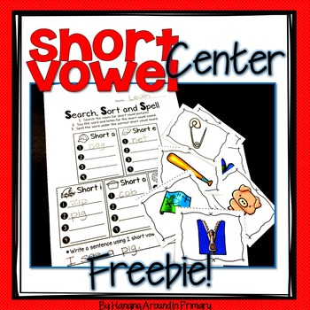 Short Vowels Literacy Center FREEBIE by Hanging Around in Primary