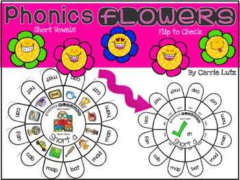 Short Vowels  Self Checking Phonics Flowers