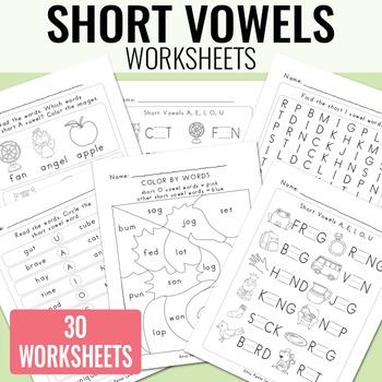 Short Vowels Worksheets - Fill in the Blank, Color by Word