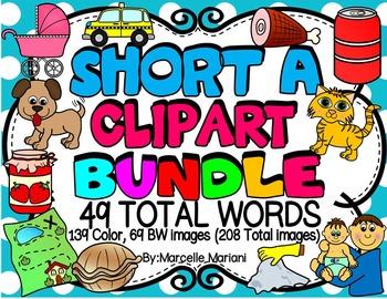 SHORT VOWEL A Clipart Bundle-CVC Clipart (47 total words-