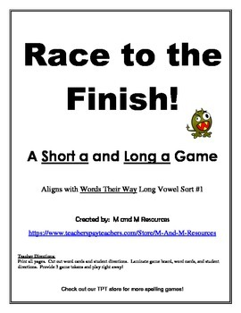 Short a Long a  Race to the Finish Game