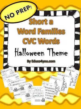 Short a Word Families - CVC Words - Halloween Theme!