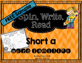 Short a Word Family Spinner Free Sample