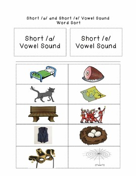 Short /a/ and Short /e/ Vowel Sound Picture Word Sort FREEBIE