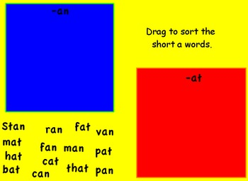 Pam and Sam Promethean flipchart Short a sounds :-at, an T