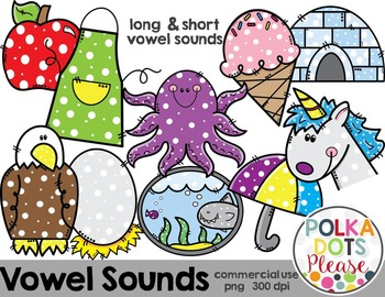 Short and Long Vowel Sounds {Graphics for Commercial Use}