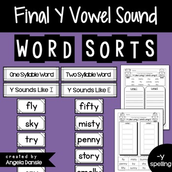 Short and Long Vowel Word Sort (Final Y)