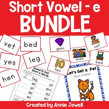 Short e BUNDLE Working on Sounds and Words Activities, Fla