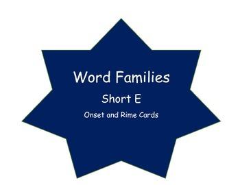 Short /e/ Onset & Rime Word Families