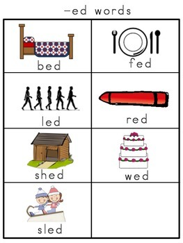 Short e Picture Word Banks