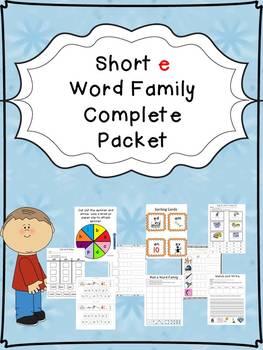 Short e Word Family Centers Bundle: CVC Bingo, Spinner, So