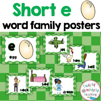 Short e Word Family Posters