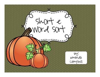 Short e Word Sort