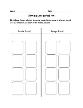 Short e and Long e Words: Cut, Sort, and Paste Activity