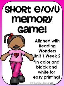 Short e, o, and u Memory Game---Aligned with Reading Wonde