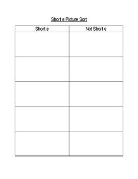 Short e picture sort activity