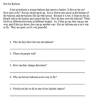 Short easy reading passages with 5 questions - Set 1 - 10