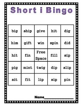 Short i Bingo with Challenge Board