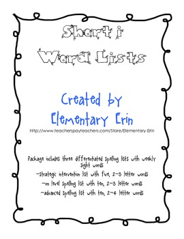 Short i Differentiated Word List Reading Street Unit 1, Week 2