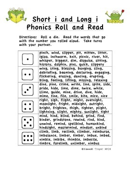 Short i and Long i Phonics Roll and Read