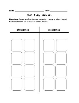 Short i and Long i Words: Cut, Sort, and Paste Activity