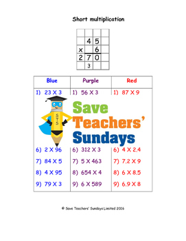 Short multiplication worksheets (3 levels of difficulty)