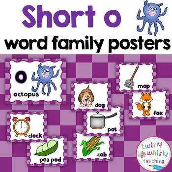 Short o Word Family Posters